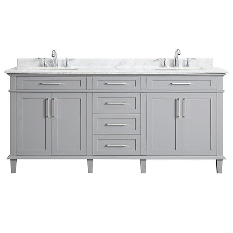 Sonoma 72 in. W x 22 in. D Bath Vanity in Pebble Gray with Carrara Marble Top with White Sinks