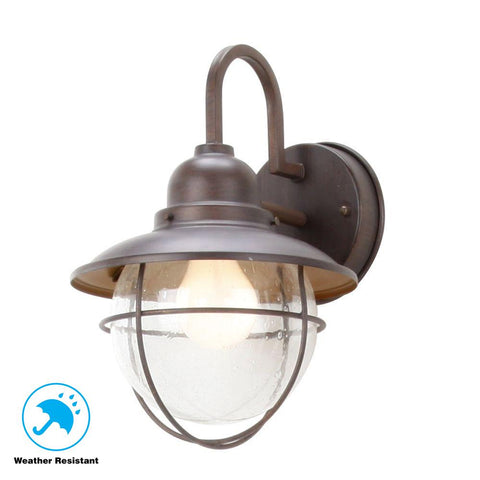 1-Light Brushed Nickel Outdoor Cottage Wall Lantern Sconce