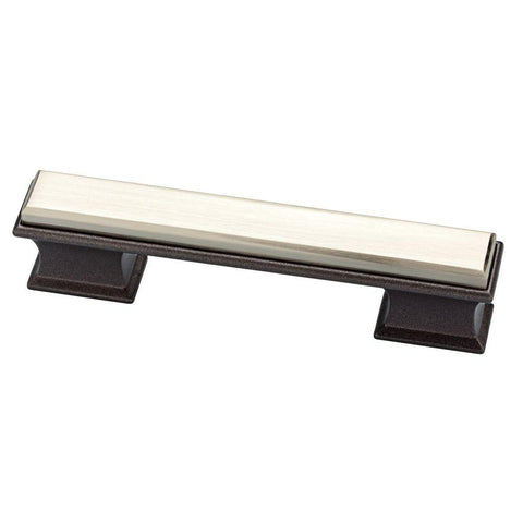 Luxe Square 3 or 3-3/4 in. (76 or 96 mm) Center-to-Center Cocoa Bronze and Satin Nickel Dual Mount Drawer Pull
