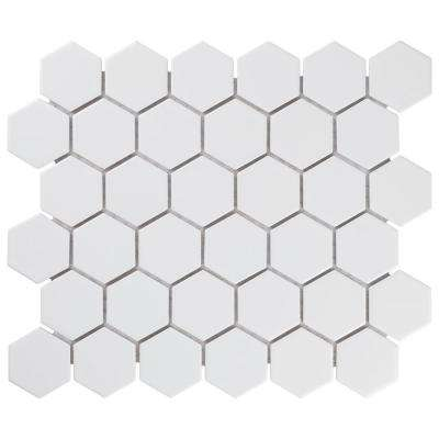 Merola Tile      Metro Hex 2 in. Matte White 10-1/2 in. x 11 in. x 6 mm Porcelain Mosaic Tile (8.21 sq. ft. / case)