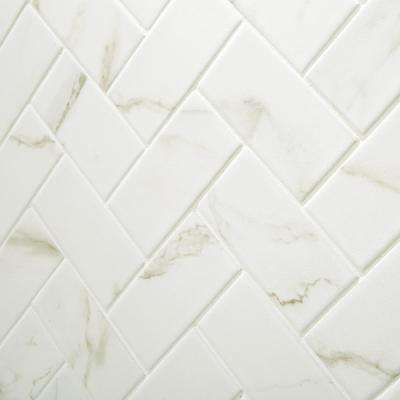 Marazzi      Developed by Nature Calacatta 12 in. x 14 in. x 6 mm Ceramic Mosaic Floor and Wall Tile (0.67 sq. ft. / piece)