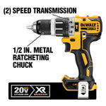 20-Volt MAX XR Lithium-Ion Cordless 1/2 in. Brushless Compact Hammer Drill with 2 Batteries 2 Ah, Charger and Case