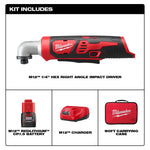 M12 12-Volt Lithium-Ion Cordless 1/4 in. Right Angle Hex Impact Driver Kit W/(1) 1.5Ah Batteries, Charger & Case