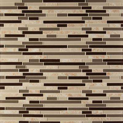 MSI      Amalfi Cafe Interlocking 12 in. x 12 in. x 6 mm Glossy Glass and Porcelain Mesh-Mounted Mosaic Wall Tile (1 sq. ft.)