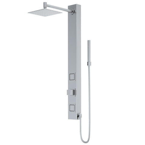 Orchid 39.375 in. 2-Jet High Pressure Shower System with Fixed Rainhead and Handheld Dual Shower in Stainless Steel