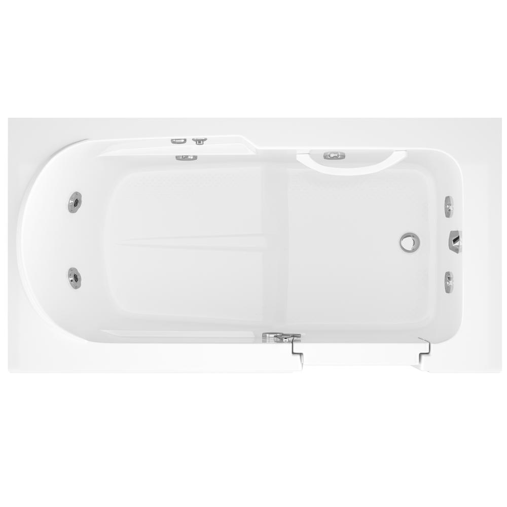 Step In 59 6 In Walk In Whirlpool Bathtub In White With 1 28 Gpf Sing In Stock Hardwarestore Delivery