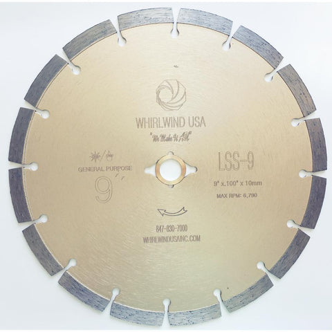 Whirlwind USA 9 in. 16-Teeth Segmented Diamond Blade for Dry or Wet Cutting Concrete, Stone, Brick and Masonry