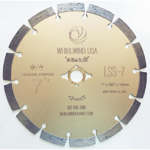 Whirlwind USA 7 in. 14-Teeth Segmented Diamond Blade for Dry or Wet Cutting Concrete, Stone, Brick and Masonry