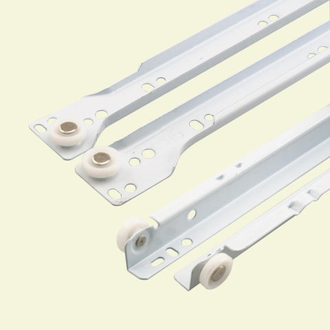 "Self-Closing Design –Fits Most Bottom/ Side-Mounted Drawer Systems –15-3/4"" Steel Tracks, Plastic Wheels, White (1-pair)"