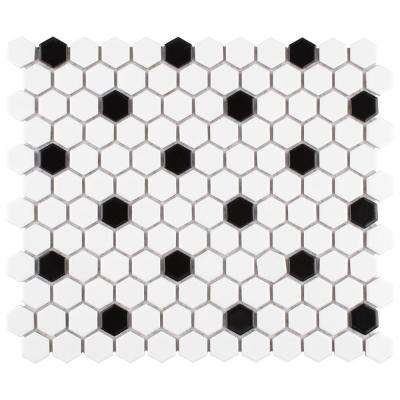 Merola Tile      Madison Hex Matte 11-7/8 in. x 10-1/4 in. x 6mm Cool White with Black Dot Porcelain Mosaic Tile