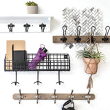 Industrial Farmhouse 27 in. Pure White and Matte Black Hook Rack with Shelf