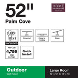 Palm Cove 52 in. LED Indoor/Outdoor Natural Iron Ceiling Fan with Light Kit