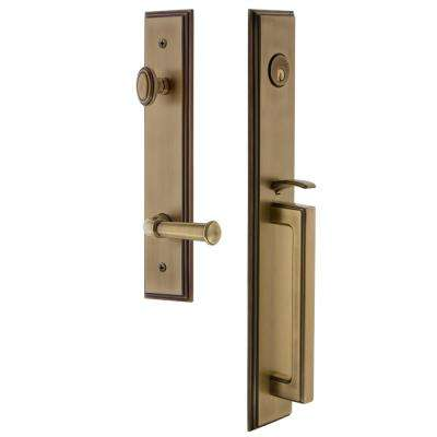 Delaney      Italian Collection Briona Single Cylinder Satin Nickel Door Handleset with Canova Interior Left-Hand
