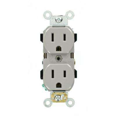 Leviton      15 Amp Industrial Grade Narrow-Body Duplex Outlet, Gray