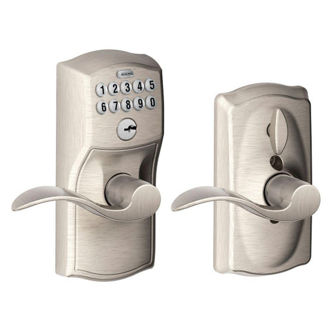 Schlage Camelot Satin Nickel Electronic Door Lock with Accent Door Lever Featuring Flex Lock - Hardwarestore Delivery