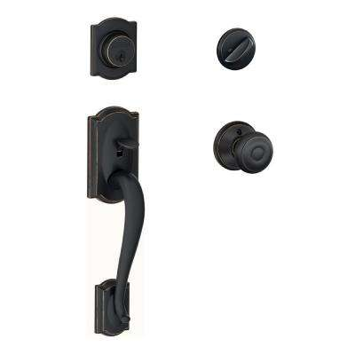 Schlage      Camelot Aged Bronze Single Cylinder Deadbolt with Georgian Knob Door Handleset