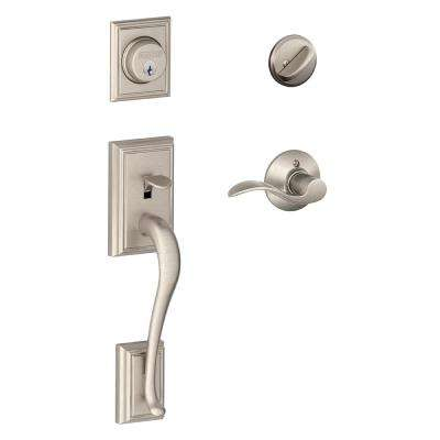 Schlage      Addison Satin Nickel Single Cylinder Deadbolt with Accent Lever Door Handleset