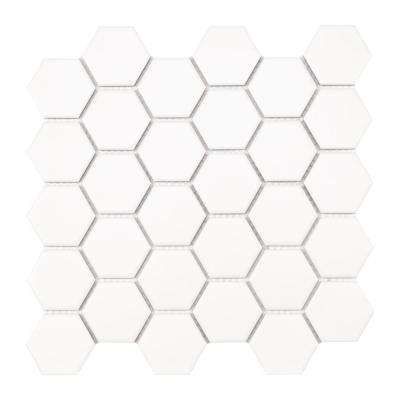 MSI      10.55 in. x 11.02 in. x 6 mm White Hexagon Matte Porcelain Mesh-Mounted Mosaic Tile (0.81 sq. ft.)