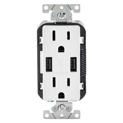 Leviton      15 Amp Decora Combination Tamper Resistant Duplex Outlet and USB Charger, White (3-Pack)