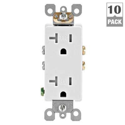 Leviton      Decora 20 Amp Ultrasonic Tamper Resistant Duplex Outlet, White (10-Pack)