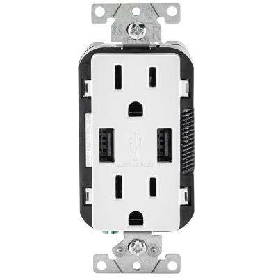 Leviton      3.6A USB Dual Type A In-Wall Charger with 15 Amp Tamper-Resistant Outlets, White