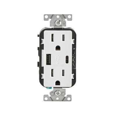 Leviton      15 Amp Decora Type A and C USB Charger Tamper-Resistant Outlet, White