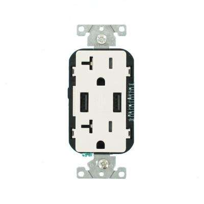 Leviton      Decora 20 Amp 125-Volt Combination Duplex Outlet and USB Outlet, White