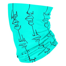 Load image into Gallery viewer, Black on Turquoise 143 - Neck Gaiter
