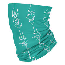 Load image into Gallery viewer, White on Teal 143 - Neck Gaiter