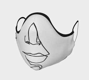 Single-line drawing facemask - 01 black lines on white background (with optional insertable filters)