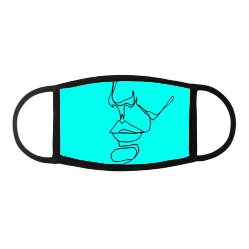 Black on Turquoise 141.b - Face Mask