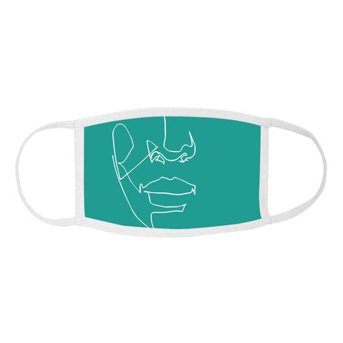 White on Teal 141.a - Face Mask