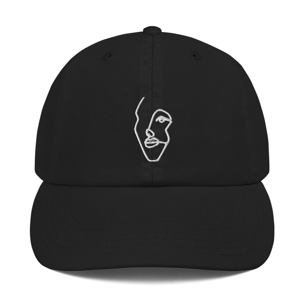 Champion Dad Hat with White Single-Line Drawing