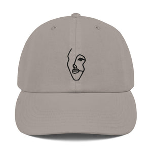 Champion Dad Hat with Black Single-Line Drawing