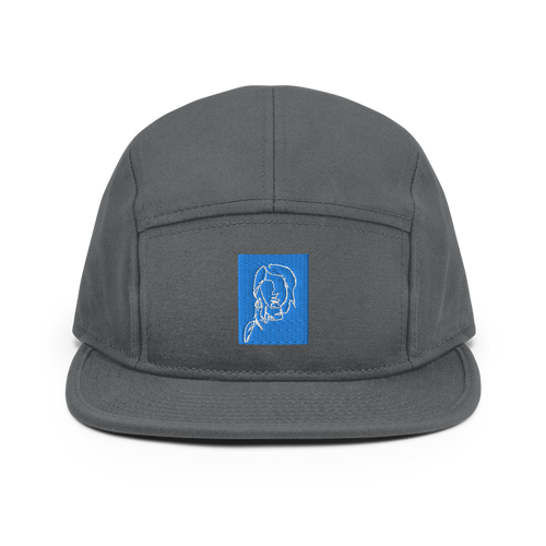 5 Panel Camper Hat with Blue and White Single-Line Lady Drawing