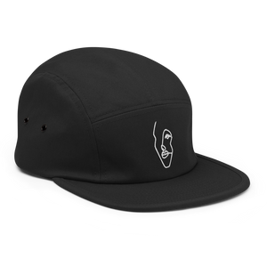 Five Panel Cap with White Single-Line Drawing