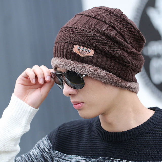 Coral Fleece Winter Beanies Hats Scarf For Mens Soft Warm Breathable Wool Knitted Winter Hat Letter Double Layers Cap