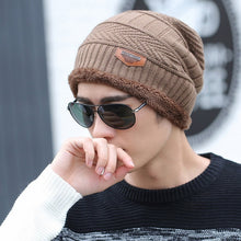 Load image into Gallery viewer, Coral Fleece Winter Beanies Hats Scarf For Mens Soft Warm Breathable Wool Knitted Winter Hat Letter Double Layers Cap