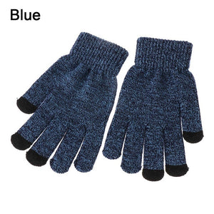 1Pair Men Thicken Knitted Gloves For Phone Screen Male Winter Autumn Warm Wool Cashmere Solid Gloves Men Mitten Business Gloves
