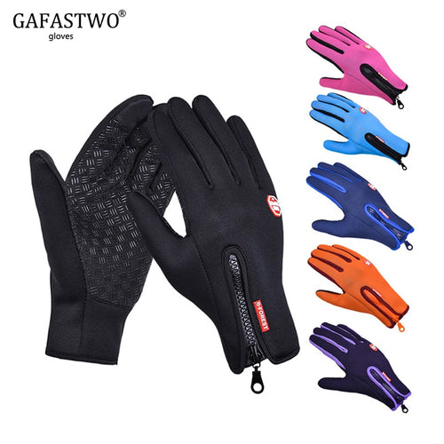 Winter Warm Touch Screen Man Gloves Ski Lady Waterproof Rain-proof Fashion Outdoor Windproof Riding Zipper Sports Gloves Women