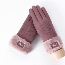 Load image into Gallery viewer, New Winter Female Lace Warm Cashmere Three Ribs Cute Bear Mittens Double thick Plush Wrist Women Touch Screen Driving Gloves 81C