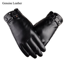 Load image into Gallery viewer, Plus Velvet 2018 men's genuine leather gloves sheepskin gloves fashion female windproof gloves autumn and winter mittnes