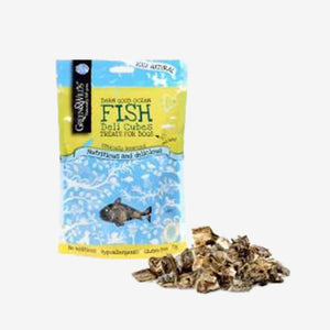 Healthy Dog Treats. Fish Deli Cubes (75g). Naturally Dried To Lock In Fishy Goodness.