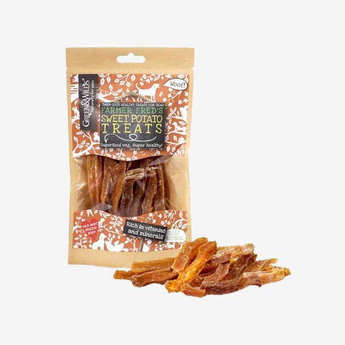 Healthy Dog Treats. Sweet Potato. 100% Vegetarian Treat. Rich in vitamins A, C, B6 and E