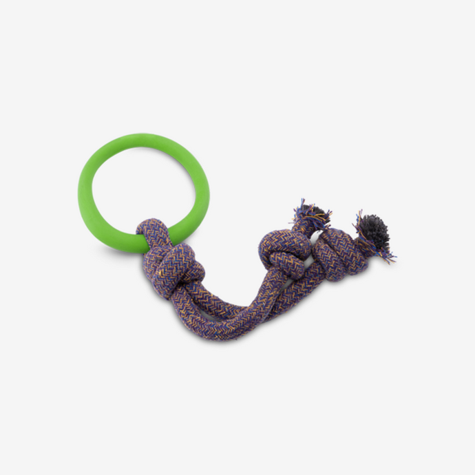 DOG TOY. NATURAL, ECO RUBBER.  HOOP ON ROPE