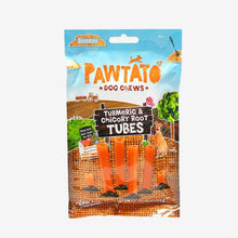 Load image into Gallery viewer, Dog Treats. Benevo's Vegetarian Pawtato Turmeric & Chicory Root Tubes 90g