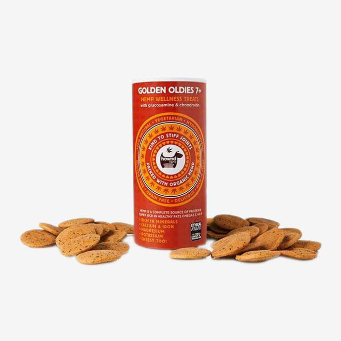 Healthy Dog Treats. Golden Oldies Hemp Wellness Treats. Vegetarian Treat. 100% Natural Ingredients. With Organic Hemp Oil