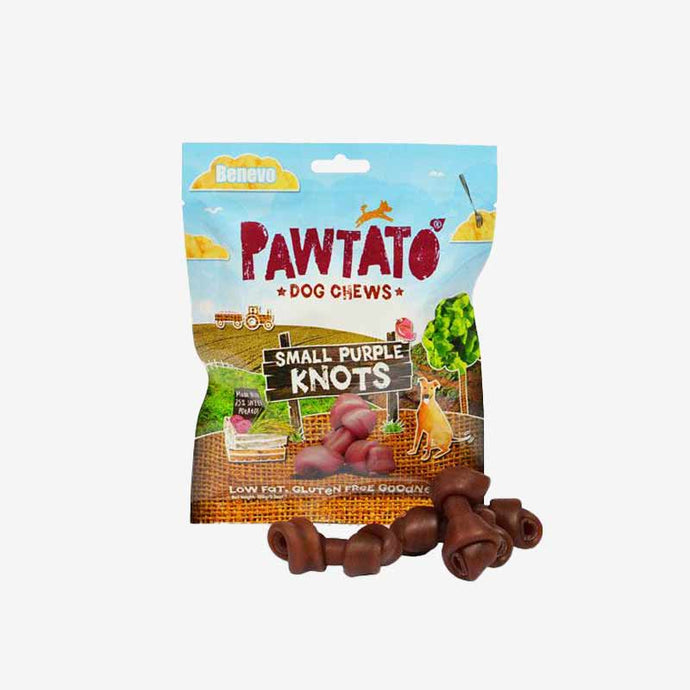 Dog Treats. Benevo's Vegetarian Pawtato Small Purple Knots 150g