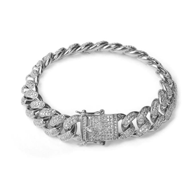 12 mm Iced-Out Cuban Bracelet - Silver
