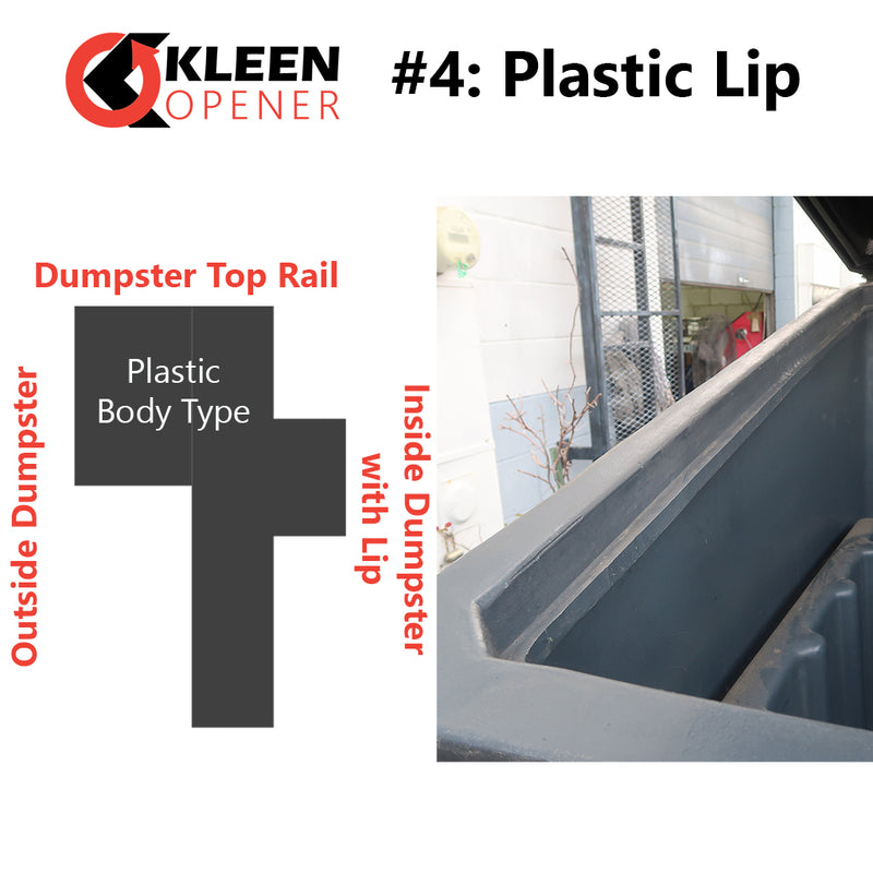 Graphic and picture example of Kleen Opener Mount Type #4 Plastic Lip
